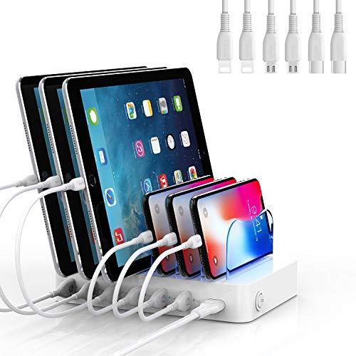 SooPii Estación de Carga móvil, Base de Carga para tabletas, Cargador USB múltiple para iPhone, Android, Samsung, LG, Huawei, Xiaomi, 6 Cables de Carga incluidos