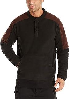 VANVENE Mens Polar Fleece Sweater Henley Sweatershirt with Kangaroo Pocket