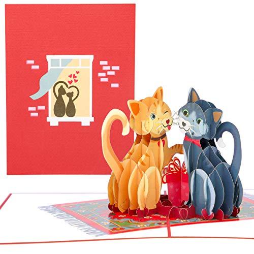 PopLife Tarjeta de felicitacin 3D con diseo de gatos de amor