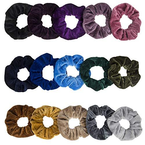 15 Pcs Velvet Scrunchies, Soft Hair Scrunchies for Girls, Elastic Hair Ties Ropes - Hair Accessories Christmas Gifts for Women Teenage Girls