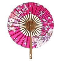 日本の桜の花ポケット扇子ラウンドサークルパーティーの装飾ギフト (Red)