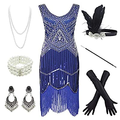 1920s Gatsby Fringed Paisley Plus Size Flapper Dress with 20s Accessories Set