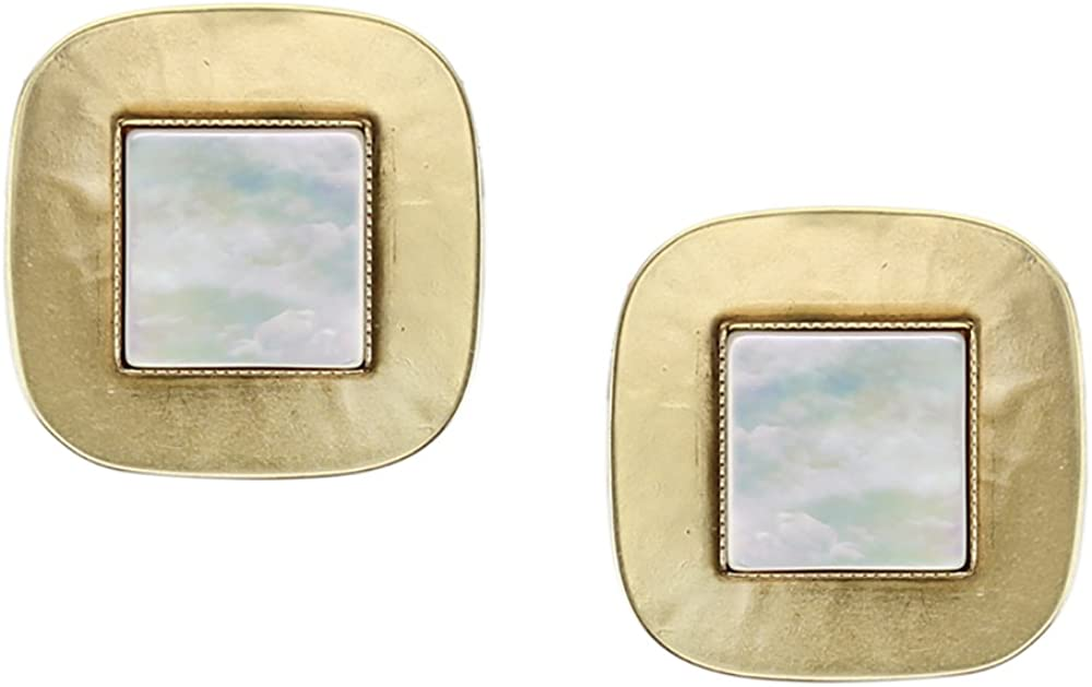 Marjorie Baer Brass and Mother of Pearl Clip on Earring