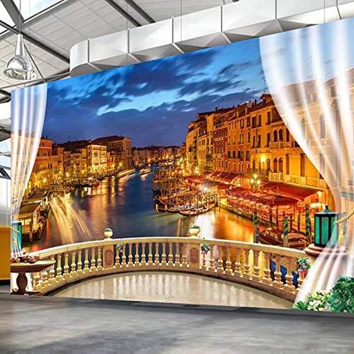 Foto personalizada 3D balcón estereoscópico Venecia ciudad vista nocturna Mural sala de estar moderna sala de estudio papel tapiz de pared