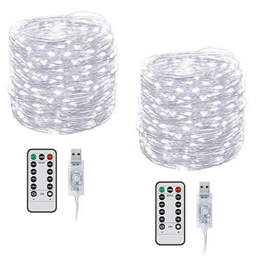 Lichterkette Draht, 2PC 10m Led Lichterketten, 100 LEDs Fernbedienung Lichterketten mit 8 Wissenschaftsmodi Zeitoptionen USB-Lichterketten für Innen und Außen - Weiß