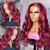 Burgundy 99j Lace Front Wigs Human Hair 99j 4x4 Body Wave Lace Closure Human Hair Wigs For Black Women 180% Density Pre Plucked Bleached Knots Supernova Hair 22 inch