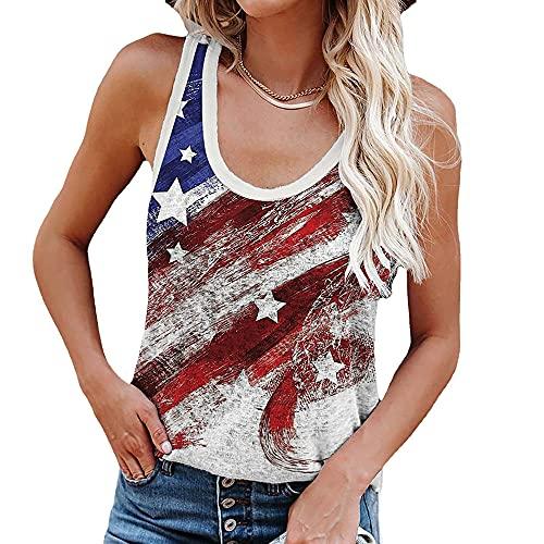 Elesoon Camiseta sin mangas para mujer, 4 de julio, 4 de julio, talla grande, Día de la Independencia, bandera de Estados Unidos, camiseta con cuello en O, A-Vino Rojo, 48