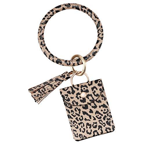 Emibele Wristlet Bracelet Keychain, PU Leather Tassel Bangle Keyring with Credit Card Holder Purse, Large Circle Bangle Key Ring for Women Girls - Leopard Brown