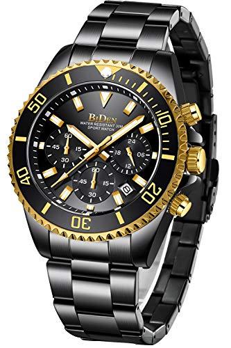 Relojes Hombre Relojes Grandes de Pulsera Militares Cronografo Diseñador Luminosos Impermeable Reloj Hombre Deportivos de Acero Inoxidable Plata Analogicos Fecha Dorado