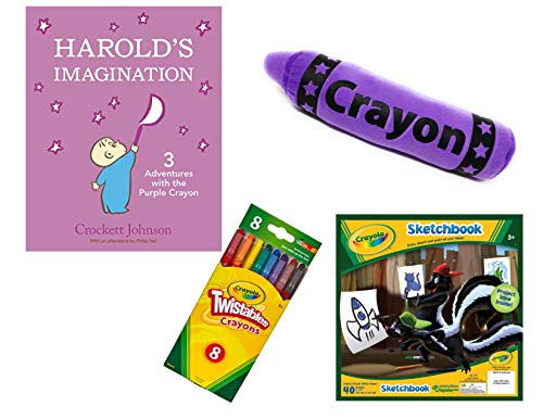 Harold and The Purple Crayon Gift Set Includes Harold's Imagination: 3 Adventures with The Purple Crayon Hardcover by Crockett Johnson, Purple Plush Crayon, Twistables and Sketchbook