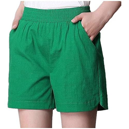 N\P Más tamaño verano mujeres algodón lino pantalones cortos elástico cintura alta caramelo color