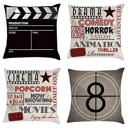 Shefii 4 unids/set Cinema palomitas de maíz funda de almohada 45 x 45 cm película jugando tablero cojín cubierta
