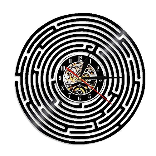 Hanzeze Reloj de Pared de Vinilo Laberinto - 3D Vintage Cuarzo Silencioso Hecho Mano Negro Moderno Regalo Creativo único Decoración Hogar Arte 30cm