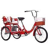 zyy Triciclo per Adulti 20' Bicicletta con Cestino Posteriore Pieghevole Bicicletta A Tre Ruote da Crociera Triciclo Bicicletta Trike Ruote Cruiser Trike per Sport PIC-nic Acquisti (Color : Red)