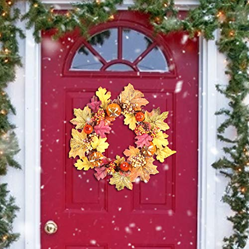 Sumshy Halloween Wreath Decoration Diameter 35 cm Plenty of Door Wreath Autumn Thanksgiving Pendant Wreath with Pumpkin Acorn Maple Leaf Decoration for Exterior Door Window and Wall