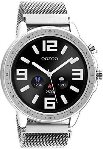 Oozoo Unisex Smartwatch mit Edelstahl Milanaiseband Silberfarben/Silberfarben 45 MM Q00305