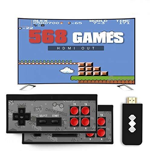 LYPXX Retro Mini HDMI 4K TV Game Stick Konsolen Controller, 568/600 Eingebaute Klassische Spiele, Handheld Spielekonsolen für Kinder, Plug and Play Wireless Gamepad (Y2 HDMI 568 Games)