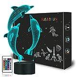 Veilleuse pour enfants océan dauphin 3D veilleuse marsouin lampe de chevet avec télécommande 16 changement de couleur Noël Halloween cadeau d'anniversaire pour enfant bébé fille