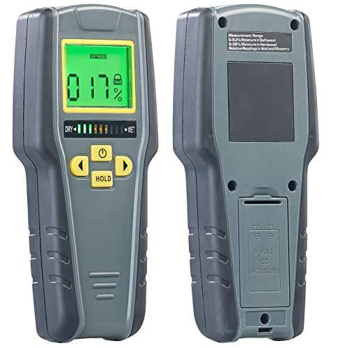 AGT Feuchtigkeitsmessgerät: Digitaler 4in1-Feuchtigkeits-Detektor mit Nicht-invasiver Messung, LCD (Feuchtemesser)