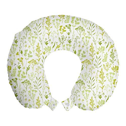 ABAKUHAUS Senf Reisekissen Nackenstütze, Wiesenkräuter Pflanzen-Layout, Schaumstoff Reiseartikel für Flugzeug und Auto, 30x30 cm, Weiß Apfelgrün