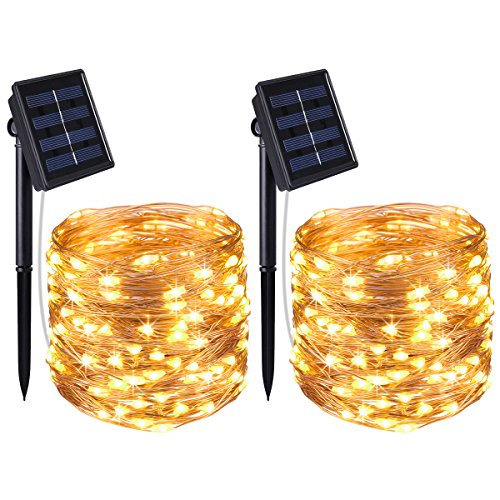 AMIR Solar Powered String Lights, 100 LED Copper Wire Lights, Waterproof Starry String Lights, Indoor Outdoor Solar Decoration Lights for Gardens, Patios, Homes, Parties (Warm White - Pack of 2)