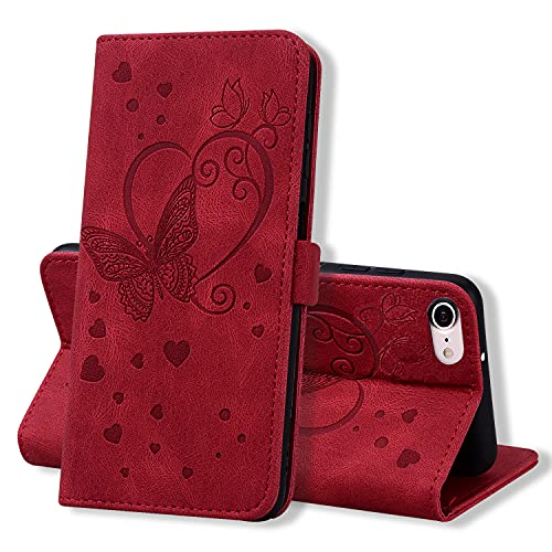 Keikail Funda iPhone 7 / iPhone 8 / iPhone SE 2020, Flip Caso Magnética Tarjetero Tapa de Cuero, Patrón de Mariposa, Carcasa Libro Protección para iPhone 7 / iPhone 8 / iPhone SE 2020, Rojo