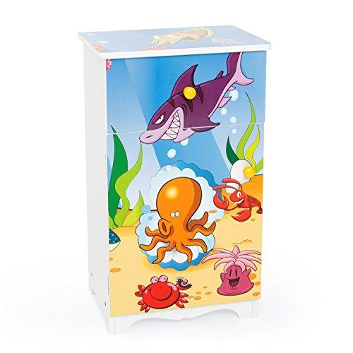 Homestyle4u Meubles d'enfant Commode 1 tiroir et 1 Poche à Rabat Mer, Bois, Multicolore, 26 x 34 x 62 cm