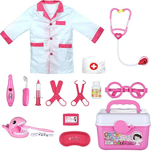 PRAABDC Kids Doctor Playset  Doctor Costume for Kids Pretend Play Doctor Toys with Electric Stethoscope Dental Mirror Thermometer amp More and Carry Bag for Little Girls