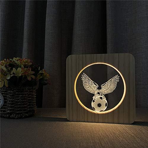 Diseño de águila de fútbol Luz de Noche de Madera Lámpara de Mesa Luz de Control Control de Talla Control de Amistad Entrega de Regalos