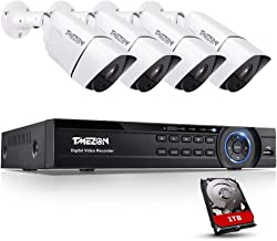 TMEZON 4K Ultra HD Security Cameras System, 8 Channel H.265+ 4K (3840x2160) Video Dvr with 1TB Hard Drive and 4 x 4K (8MP)...