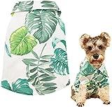 ZDZDY Disfraces de Mascotas Disfraz de Hawaiano para Cachorros Chaleco de Solapa con Patrón de Hojas (verde y blanco-L)