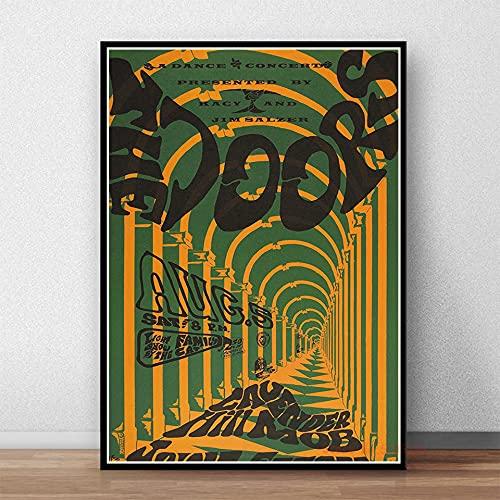 qingqingzijin The Doors Jim Morrison Poster Rock Band Música Guitarra Lienzo Pintura Arte para la Sala de Estar Decoración del hogar A371 50 × 70CM Sin Marco