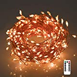 250 LEDs Cluster String Lights, Christmas Lights, Fairy Lights with USB Powered, 33ft String Copper Wire Lights with Remote Control and Timer Perfect for Weddings,Party,Bedroom