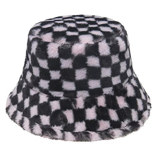 Myya Unisex Invierno Grueso Felpa Animal de Peluche Sombrero de Cubo Harajuku Vintage Tablero de ajedrez a Cuadros Impreso Hip Hop cálido Gorra de Pescador de panamá