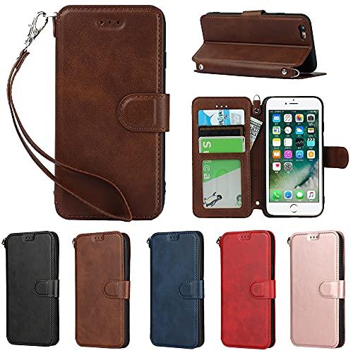 Eastwave アイフォン 6 6S ケース 手帳型 iPhone 6S 6 手帳式 カバー iPhone6 iPhone6S 財布型 ケース 横置きスタンド 機能 PUレザー カード収納 衝撃吸収 軽量 超薄型 ベルト付き—ブラウン