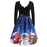 Formal Dress Cocktail Party Dress V Neck Women Prom Tea Dress Vintage Swing Cocktail Party Dress (L,4Blue)