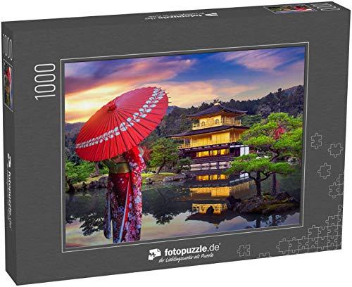 fotopuzzle.de Puzzle 1000 Teile Asiatin im japanischen traditionellen Kimono im goldenen Pavillon. Kinkakuji Tempel in Kyoto, Japan (1000, 200 oder 2000 Teile)