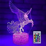 Veilleuse licorne 3D pour filles, 16 couleurs, lampe de chevet tactile et télécommande, cadeaux d'anniversaire pour filles de 2 3 4 5 6 7 8 ans et fans de licorne (licorne volante)