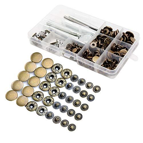 Botones de Presión 50 Piezas Metálicos y Conjunto Botón de Cuero para Botones de Presión de Cobre Remache Herramienta de Herramientas