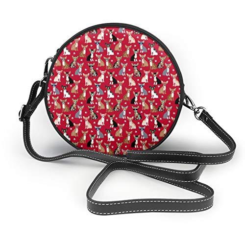 Chihuahua Gafas de sol de verano, color rojo, pequeño, redondo, bolso bandolera para hombro, bolso clásico y elegante