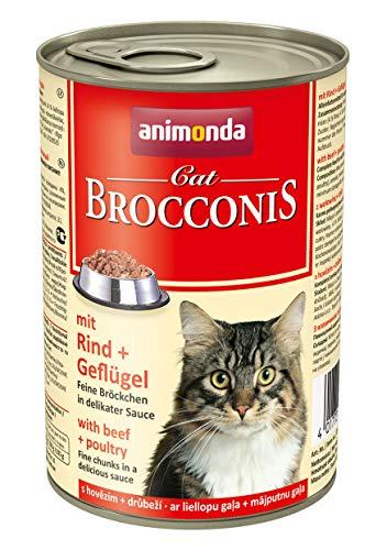 animonda Brocconis Katzenfutter, Nassfutter für Katzen, mit Rind + Geflügel, 12 x 400 g