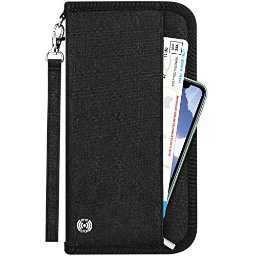 Newdora Travel Wallet Passport Holder Cover RFID-Blocking Travel Document Organizer Case for Passports,ID Card, Credit Cards, Flight Tickets, Money and Other Travel Accessories