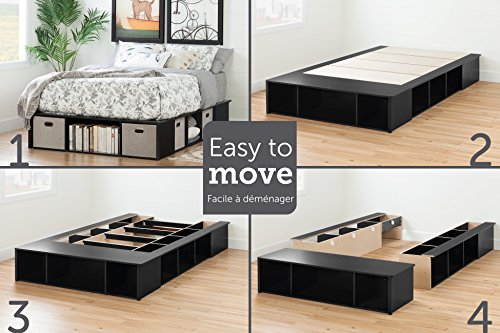 South Shore Flexible Platform Bed with Storage and Baskets, Full 54-Inch, Black Oak