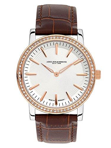 ABELER & SÖHNE Fabricado en Alemania AS1204 - Reloj de pulsera para mujer con correa de piel, cristal de zafiro y circonita