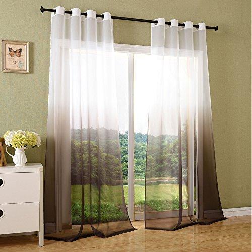 Schal transparent Farbverlauf Vorhang mit Ösen Gardine Voile, 2 Stück 245x140, Braun, 204202