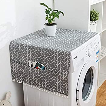 2PCS Anti-Slip Washer And Dryer Top Covers Fridge Dust Cover Washing Machine Top Cover Front Load With 6 Storage Bags