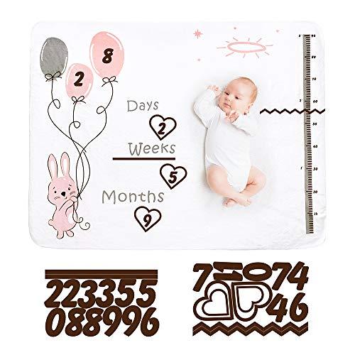 Baby Monatliche Meilenstein Decke, 120 * 150cm Premium Flanell Fleece Baby Meilenstein Decke für Mädchen und Jungen, Fotografie Hintergrund Decke für Baby, Neugeborene Foto Mats(Hasenballon)