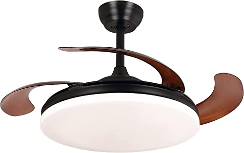 """Ohniyou 42"""" Retractable Ceiling Fan, Modern Ceiling Fans Indoor with Light Remote Control Chandelier Light Fixture for Bedroom"""