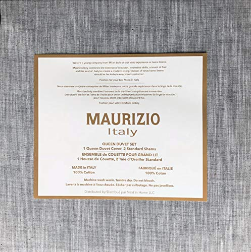 Maurizio Italy Bedding 3 Piece Queen Size Duvet Comforter Cover Set Gray and White Thread Chambray Geometric Style