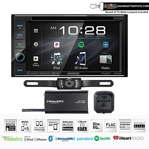 Kenwood Excelon DDX396 DVD Receiver w/SiriusXM Tuner and License Plate Style Rear View Camera with Sound of Tri-State Lanyard Bundle Audio car DVD In-Dash Receivers Video
